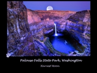 Harvest Moon Over Palouse Fall Washington