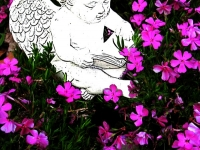 An Angel Reading With The Flowers