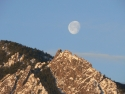 Boulder Flatirons With Moon