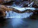Water Fall And Ice Covered Log
