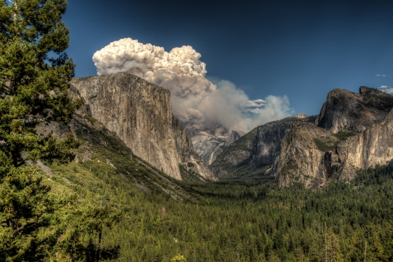 Fire At Tunnel View In The Yosemite National Park