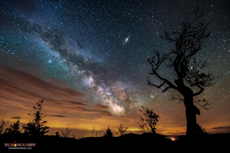 Nature & Man: Milky Way, Iridium Flare, Light Pollution And Clouds