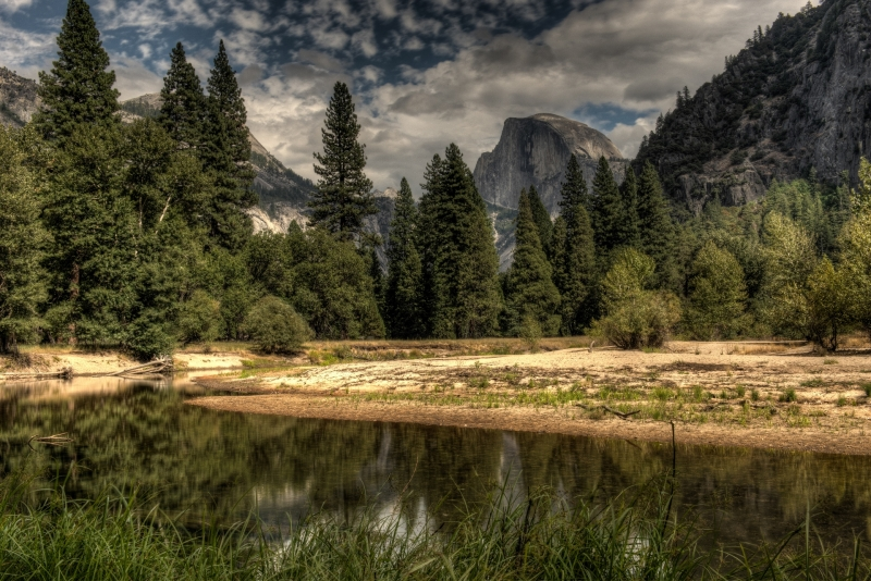 View Of Half Dome At The Merced River