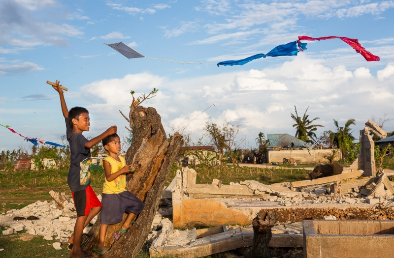 Kids Playing After Typhoon Haiyan