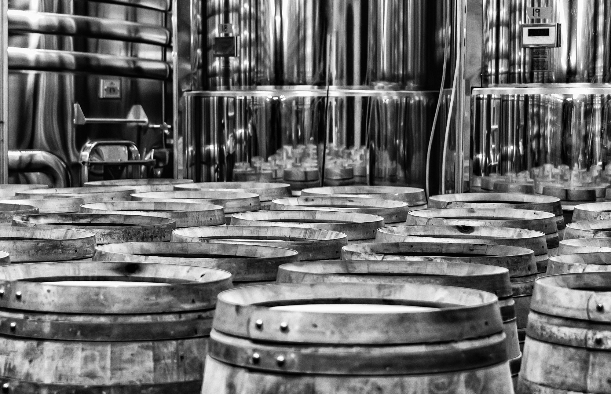 Wine barrels and tanks.