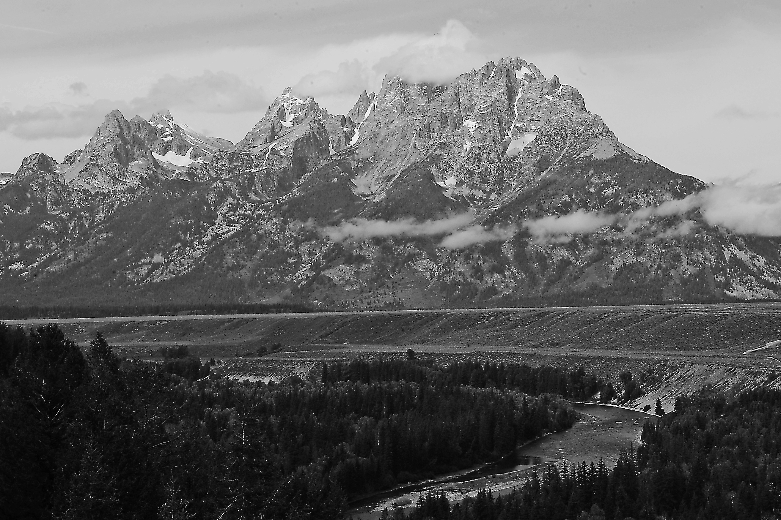 Grang Tetons and Snake River B and W