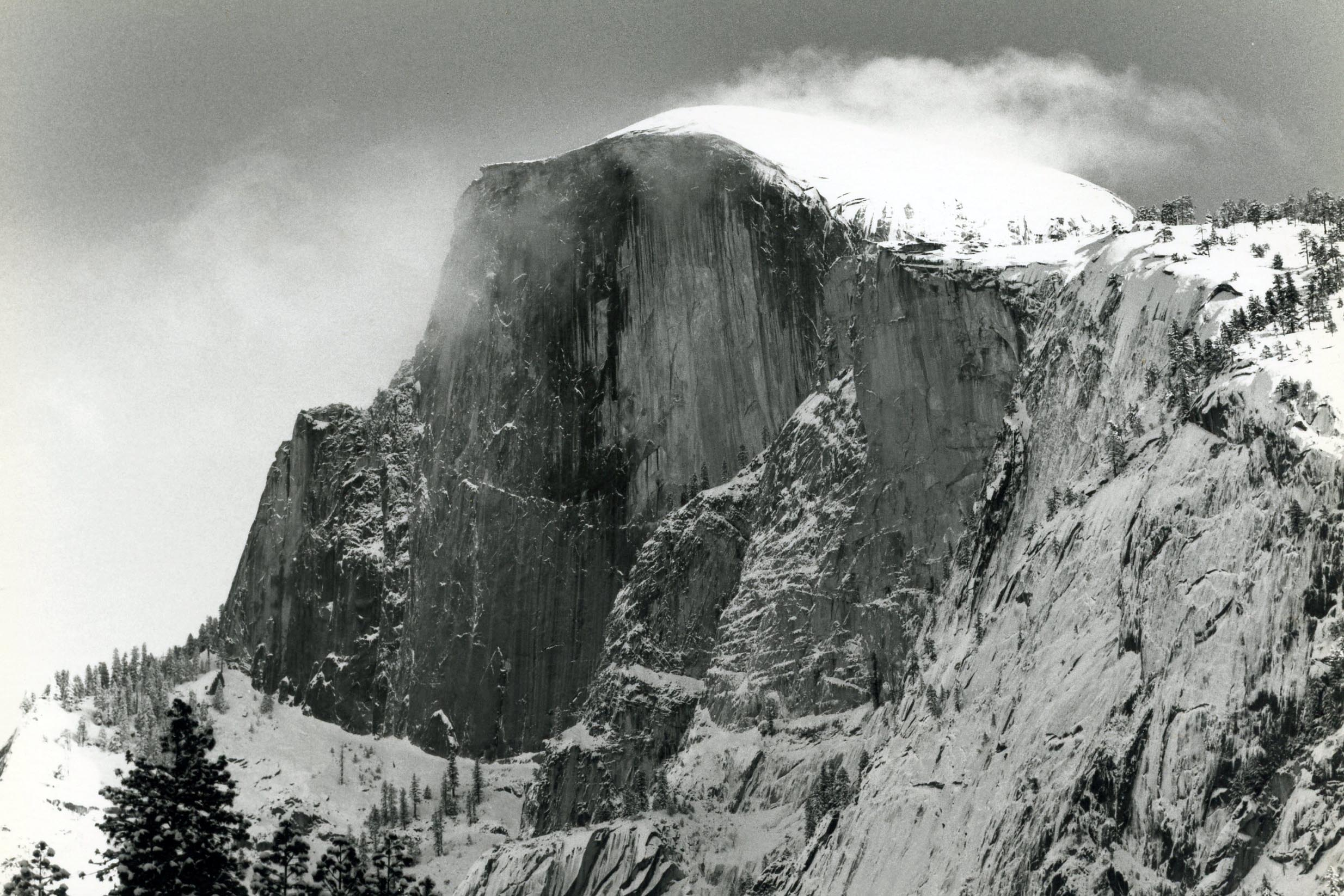 Half Dome Snow and Steam