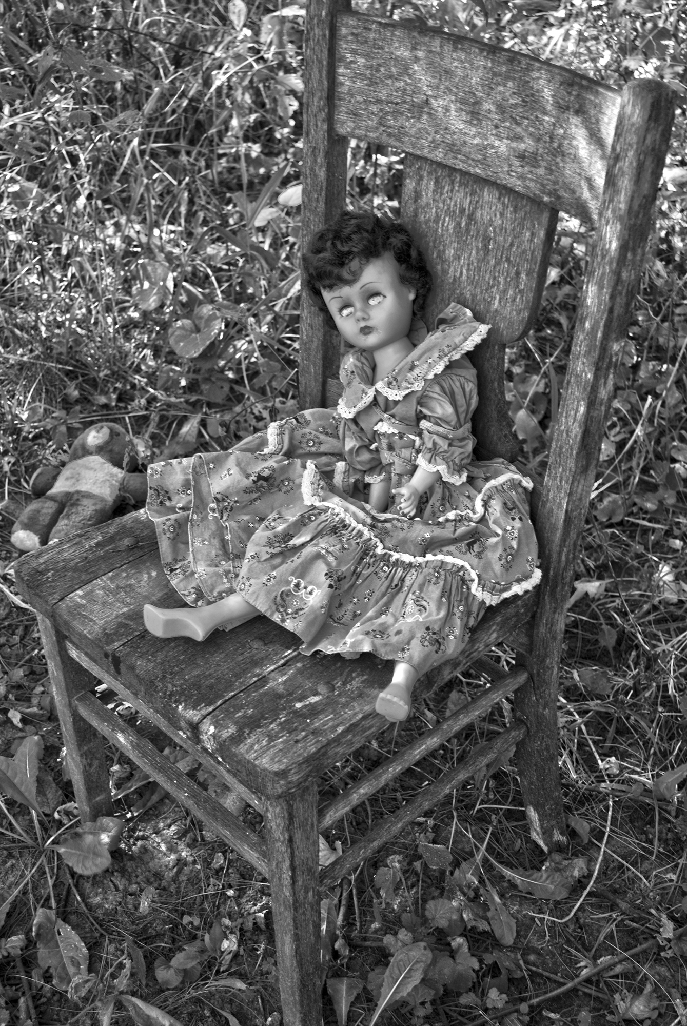 old chair and doll 2BWH