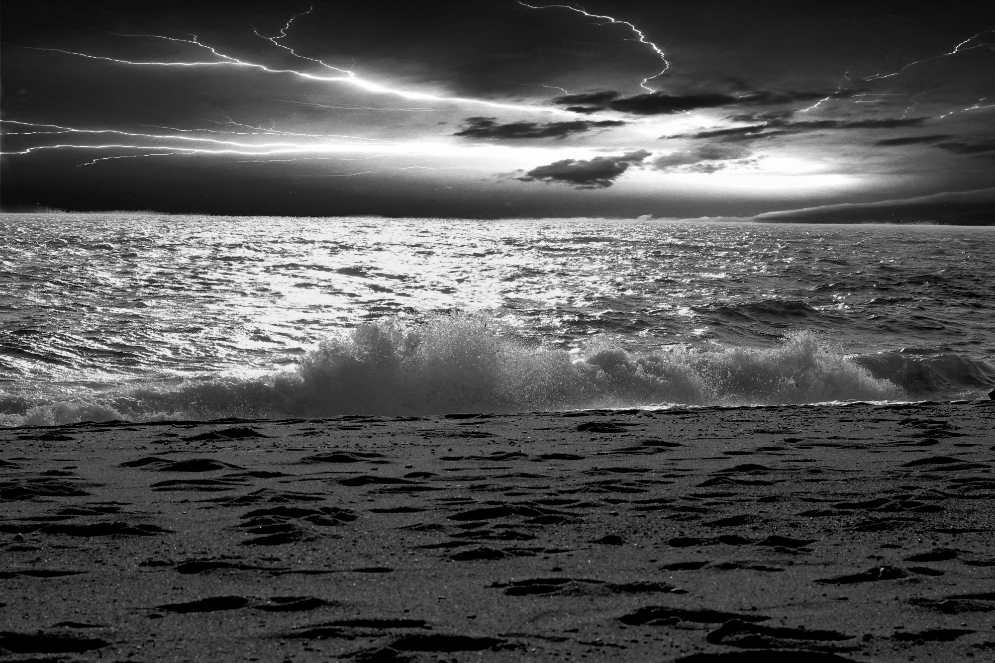 Stormy Herring Cove Beach-B&W