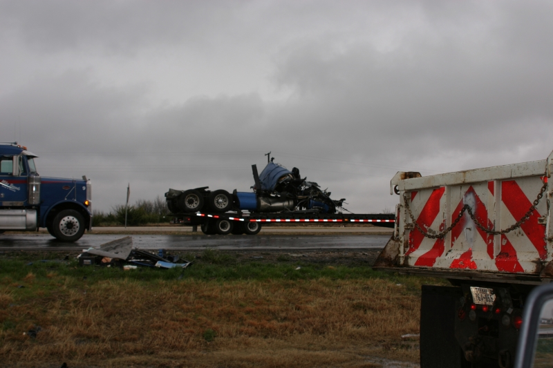 Destroyed Tractor Being Removed By Flatbed