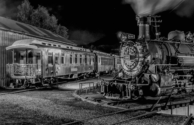 D&sngrr Engine 486 With Parlor Car Nomad At The Roundhouse In Durango