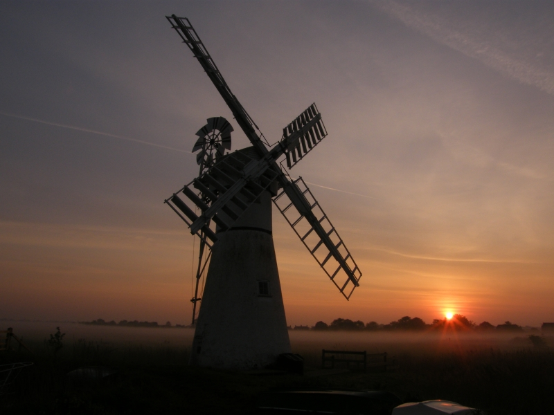 Misty Sun Rise Over Thurne Mill