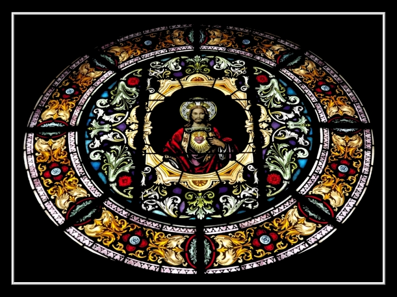 Sacred Heart Of Jesus Stained Glass Window
