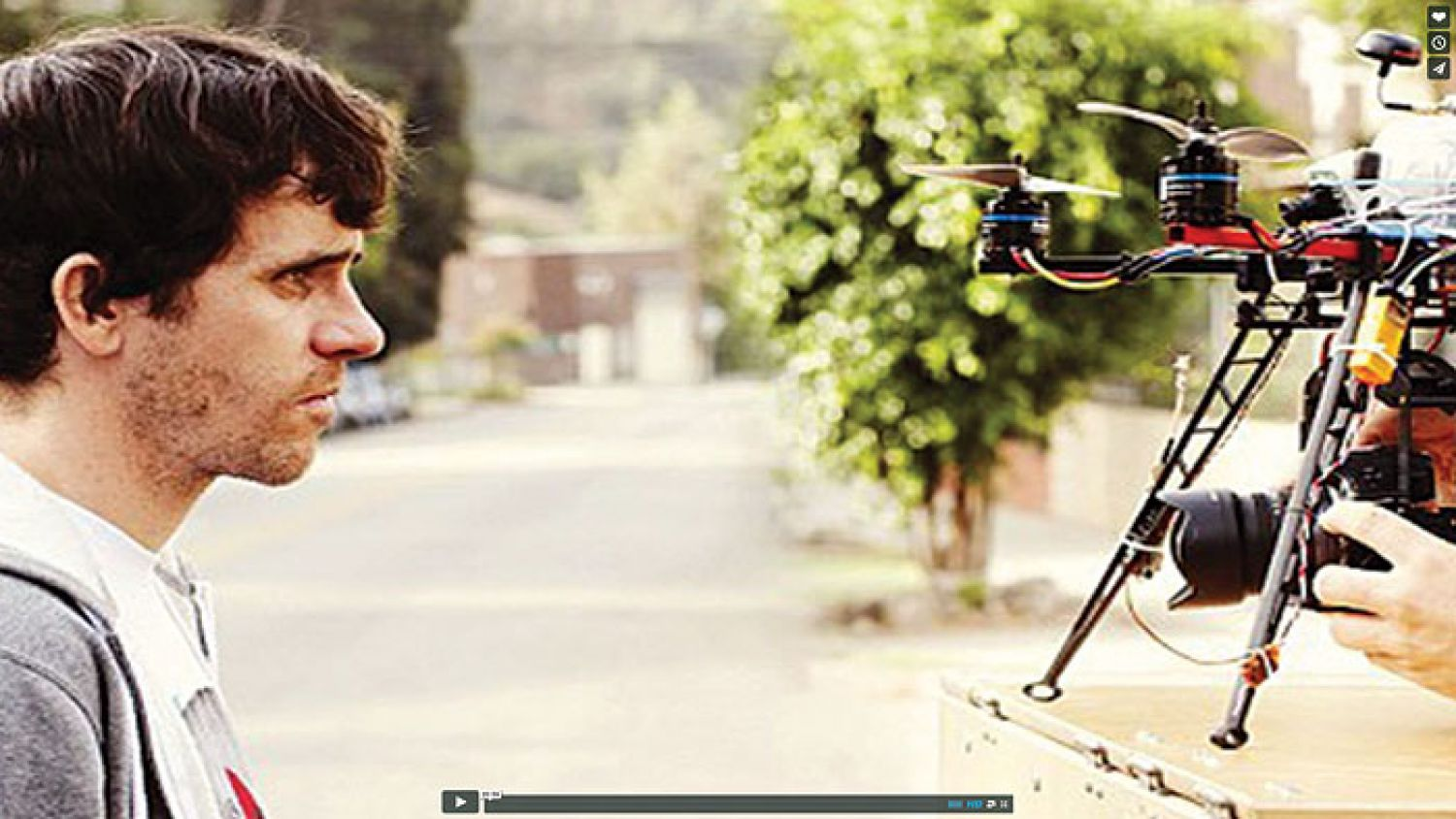 A behind-the-scenes screenshot from the Spike Jonze short, Pretty Sweet, which was shot in one take with a drone.