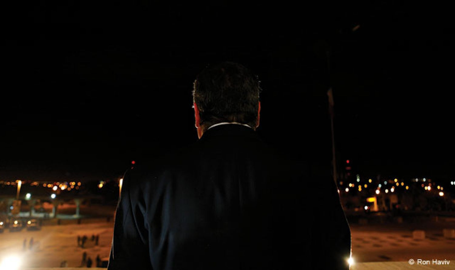 "One of Ron Haviv's most recent projects, ""Invisible Lines,"" explores the implications of the long-running unrest in Juárez, Mexico, a border city central to drug trafficking between Mexico and the United States. Above: Outgoing Juárez Mayor José Reyes Ferriz speaks to an empty plaza on the eve of Mexican Independence Day on September 15, 2010."