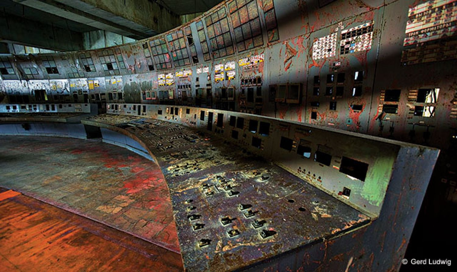The control room of Chernobyl reactor No. 4 where a fatal series of errors during a safety test triggered a meltdown.