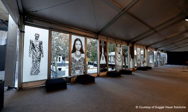 Image displays for New York Fashion Week.