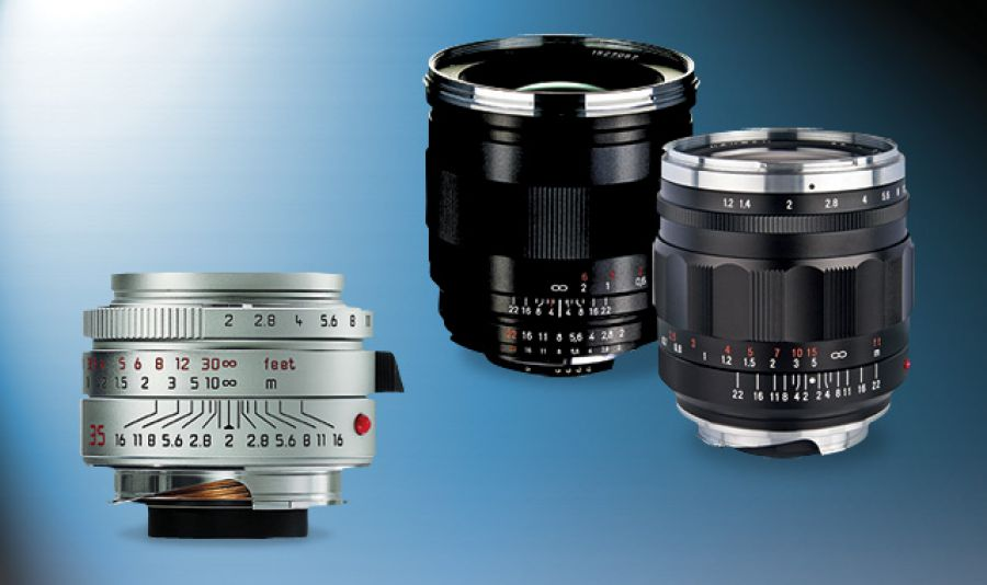Manual-focus lenses like these Leica, Zeiss and Voigtländer models (left to right) can be mated to a modern mirrorless camera to give you a compact and optically excellent kit, but at the expense of automatic functions like autofocus and electronic aperture control.
