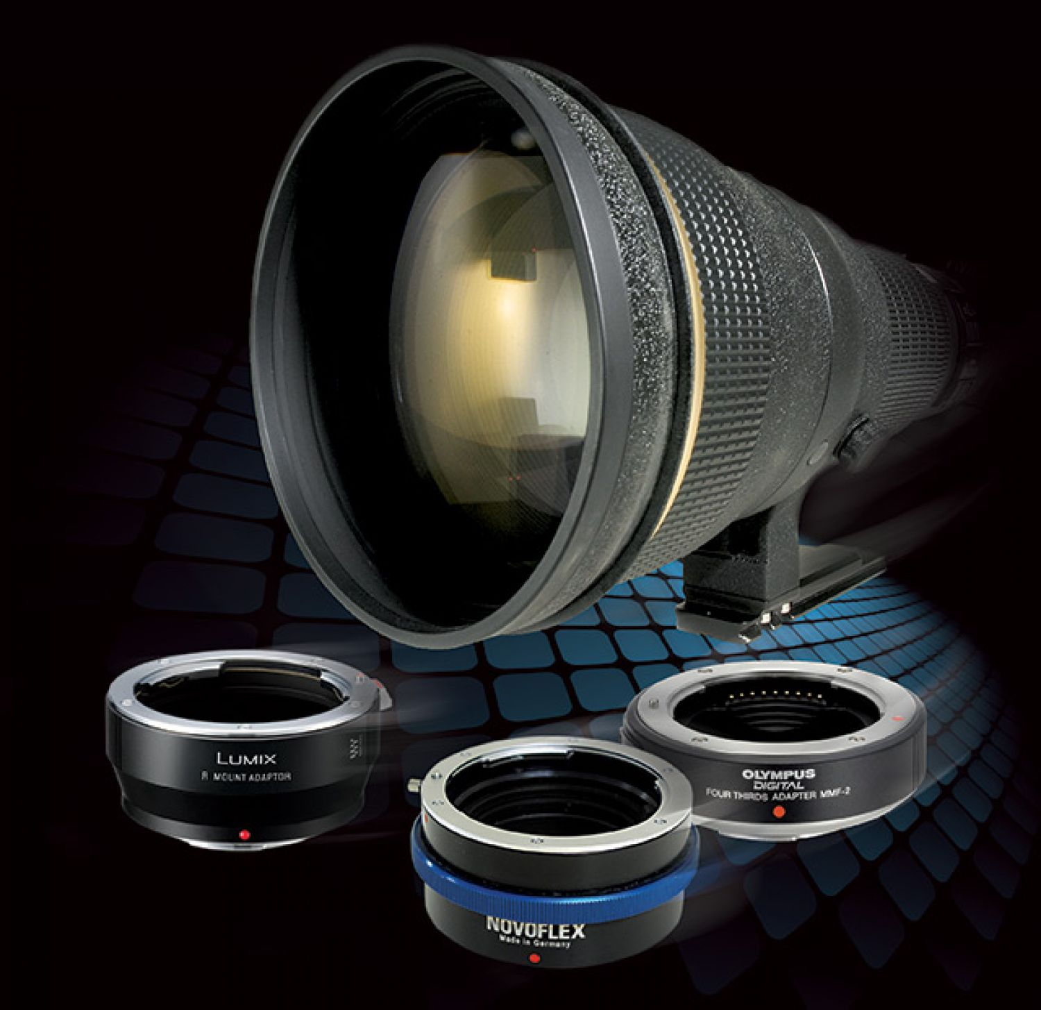 The Panasonic Lumix DMW-MA3R (for Leica R lenses), Novoflex MFT-NIK (for Nikon SLR lenses) and Olympus MMF-2 (for Four Thirds System lenses). The Micro Four Thirds System gives a pro the potential to have a very compact backup or a dedicated HD video body. Combined with an adapter, you can make use of your primary system's lenses on that backup or dedicated video body, including favorite older lenses that you may hold in particularly high esteem.