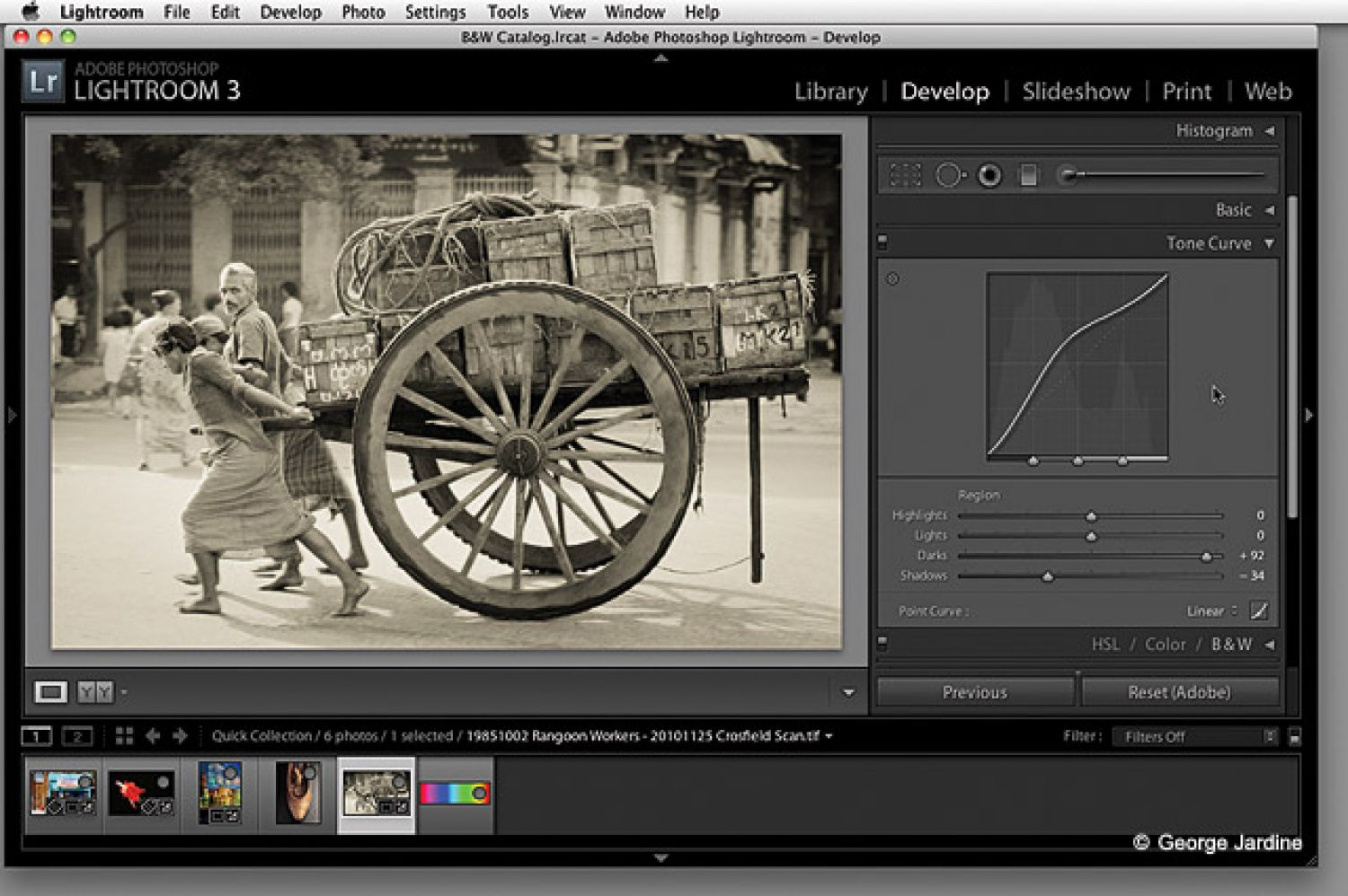 There are plenty of one-click solutions for black-and-white conversions, but many photographers will prefer to use software that gives more control. Above: In Lightroom, you can see the Tone Curve and sliders that you have at your disposal when analyzing the color image and for fine-tuning the black-and-white image.