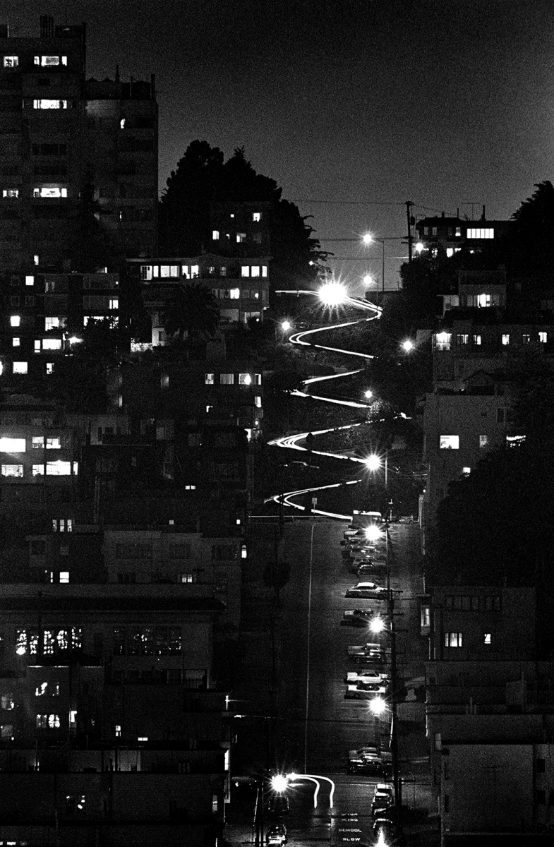 """San Francisco Lombard Street, from Telegraph Hill, night."""